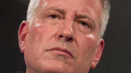 Mayor de Blasio during a press conference Wednesday