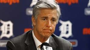 Detroit Tigers general manager Dave Dombrowski speaks to