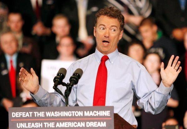Republican Presidential candidate, Sen. Rand Paul, R-Ky., speaks,