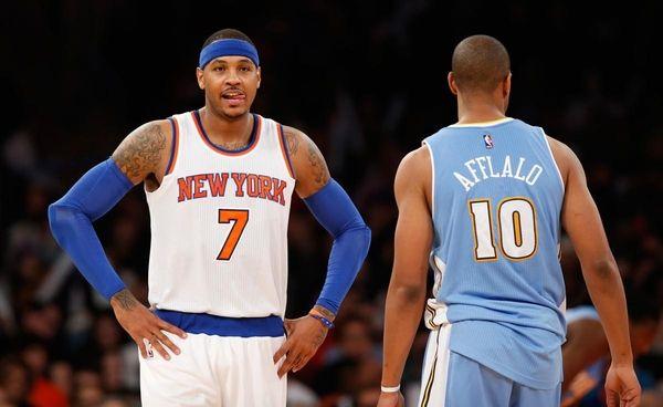 New York Knicks forward Carmelo Anthony (7) reacts