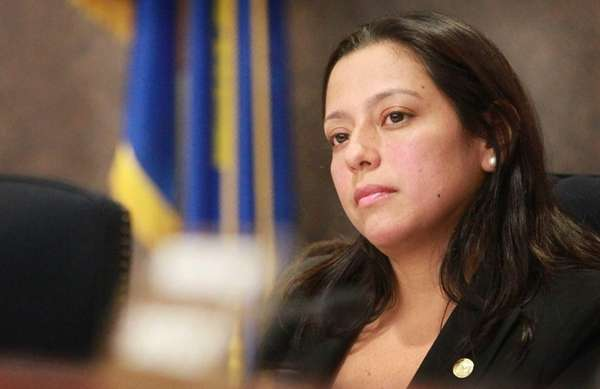 Suffolk County Legis. Monica Martinez listens at a