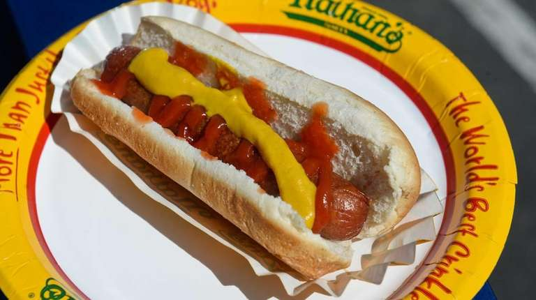 A Nathan's Famous hot dog from the concession