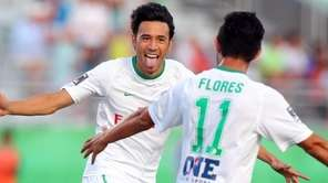 New York Cosmos midfielder Walter Restrepo #20 celebrates