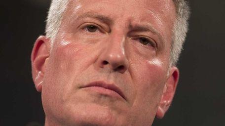 New York City Mayor de Blasio is seen