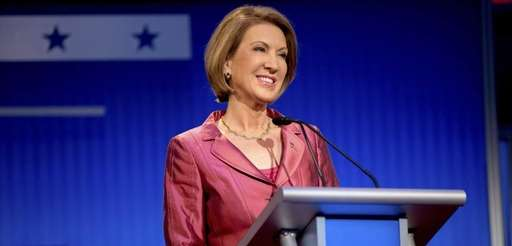 Republican presidential candidate businesswoman Carly Fiorina stands onstage