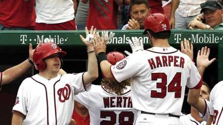 Washington Nationals Jayson Werth and Bryce Harper are
