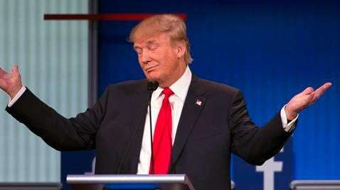 Republican presidential candidate Donald Trump gestures during the