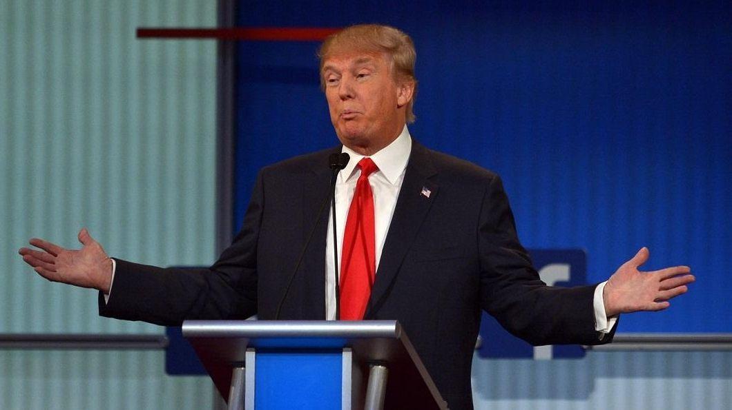 Donald Trump participates in the first Republican presidential