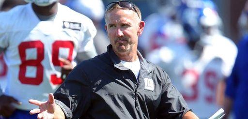New York Giants defensive coordinator Steve Spagnuolo coaches
