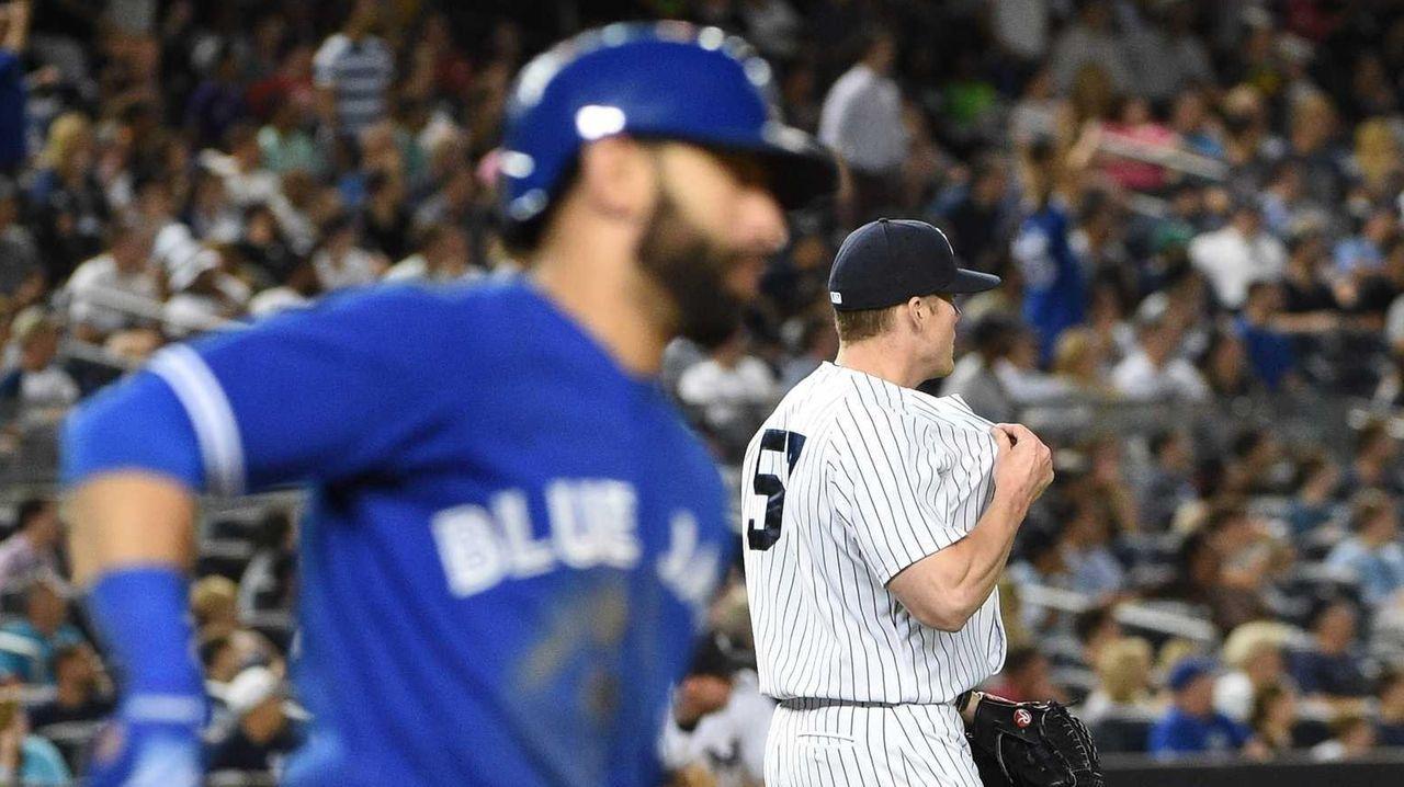 New York Yankees relief pitcher Branden Pinder reacts