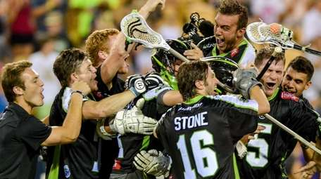 New York Lizards players celebrate after defeating the