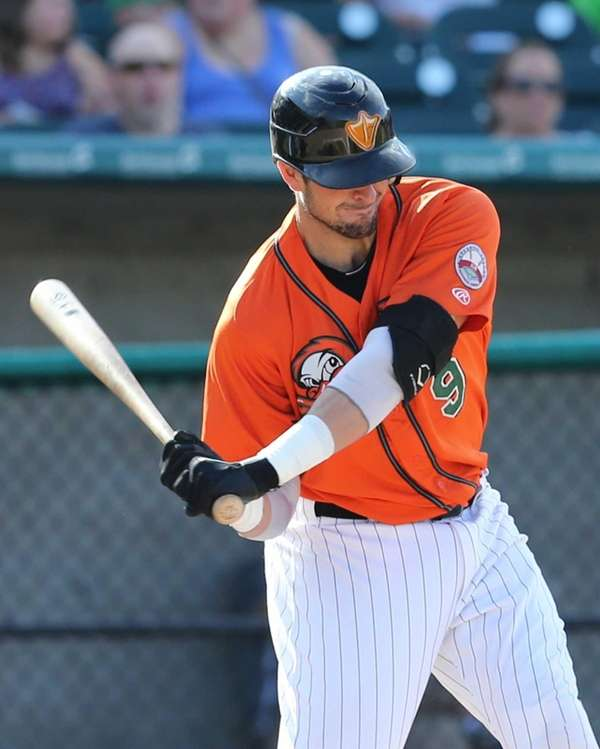 The Long Island Ducks' Mike Blanke hits an