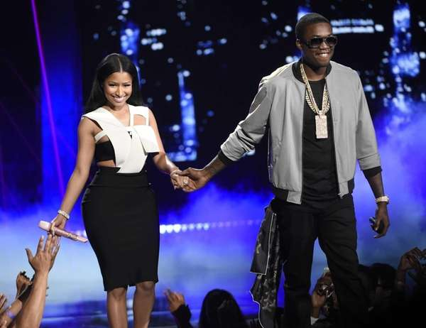 Nicki Minaj and Meek Mill perform at the