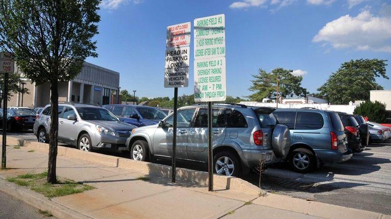 A municipal parking lot at the corner of