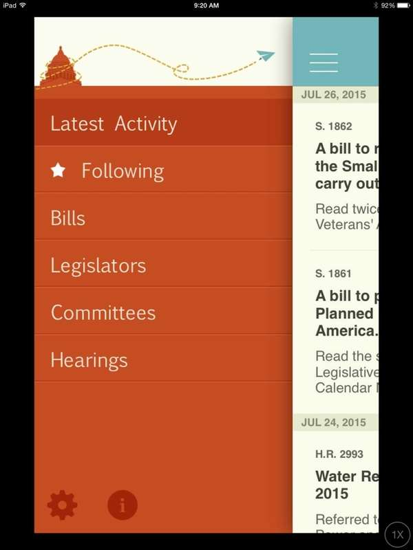 The Congress app gives you info on the