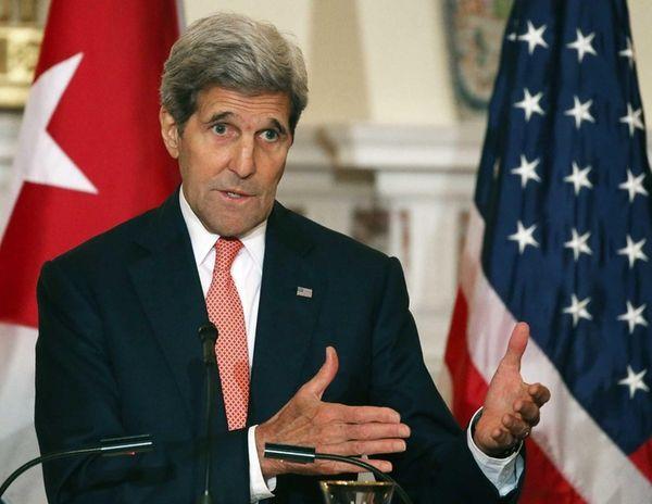 U.S. Secretary of State John Kerry speaks during