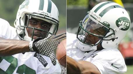 Wide receivers Quincy Enunwa, left, and Shaq Evans,