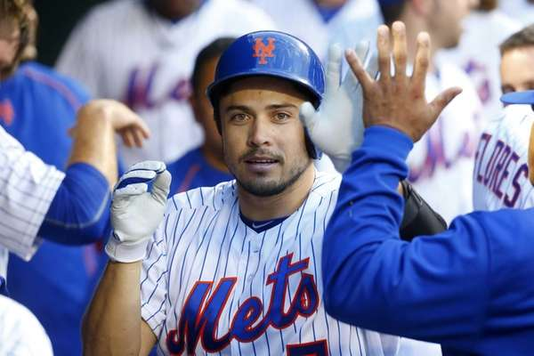 Travis d'Arnaud of the New York Mets celebrates
