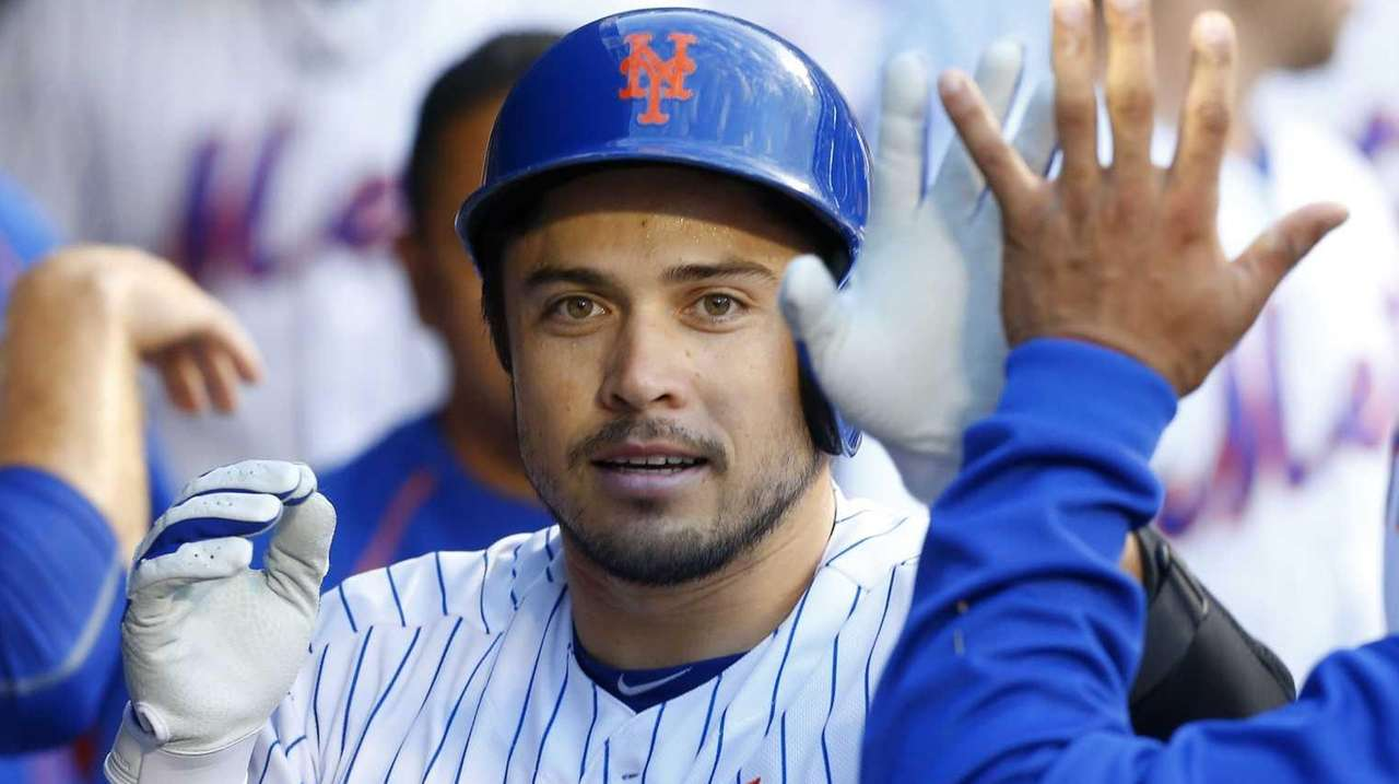 Travis d'Arnaud of the New York Mets celebrates