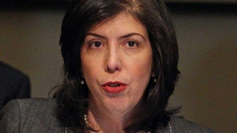 Nassau Acting District Attorney Madeline Singas speaks at