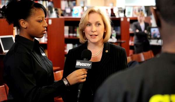 U.S. Sen. Kirsten Gillibrand is interviewed by student