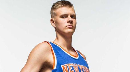 Kristaps Porzingis of the New York Knicks poses