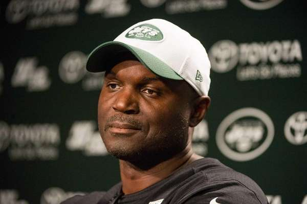 New York Jets coach Todd Bowles speaks to
