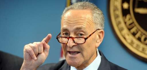 Sen. Chuck Schumer talks during a press conference