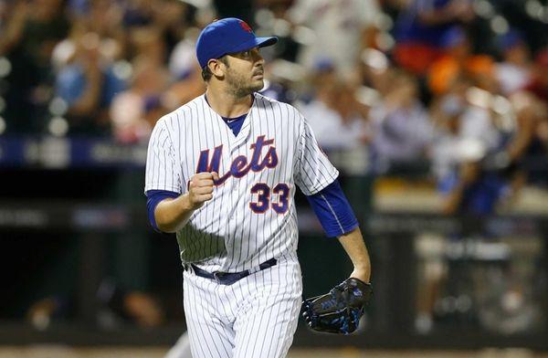 Matt Harvey of the New York Mets reacts