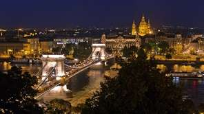 Budapest sparkles at night.