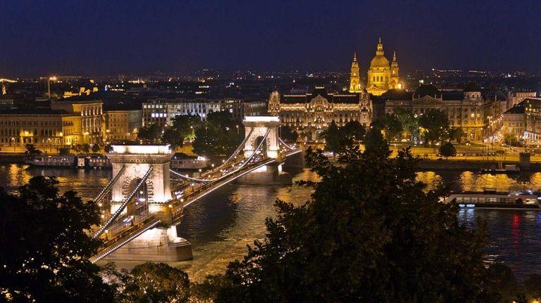 Budapest sparkles at night.
