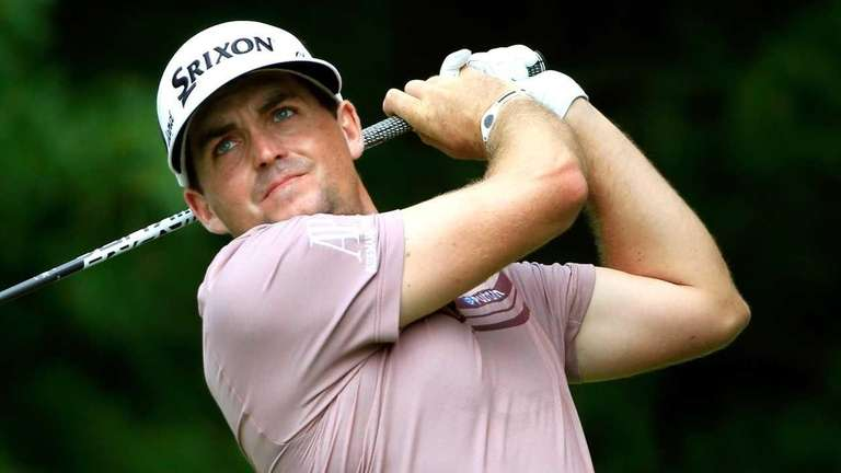 Keegan Bradley hits off the second tee during