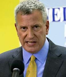New York Mayor Bill de Blasio answers questions