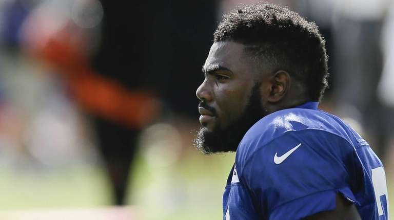 New York Giants safety Landon Collins waits between