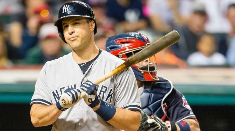 Mark Teixeira of the New York Yankees reacts