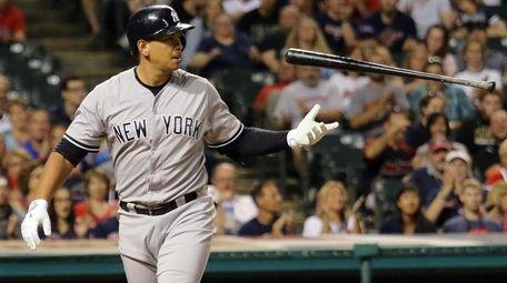 New York Yankees Alex Rodriguez flips his bat