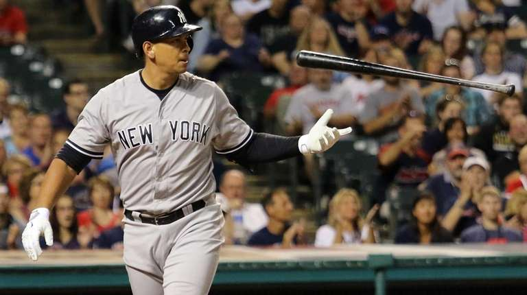 New York Yankees Alex Rodriguez flips his bat