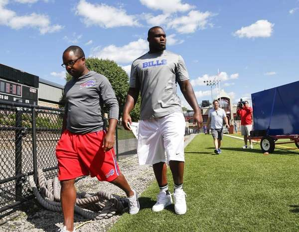 Buffalo Bills' Ikemefuna Enemkpali, right, released this week
