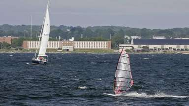 Newport, Rhode Island (about 180 miles east-northeast of