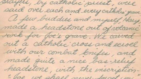 A page from a letter written by Joe