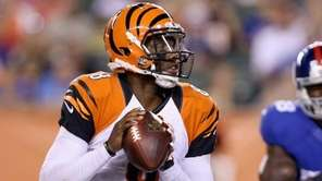 Josh Johnson of the Cincinnati Bengals prepares to