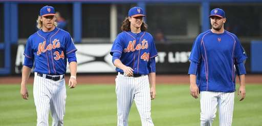 New York Mets pitchers Noah Syndergaard, Jacob deGrom