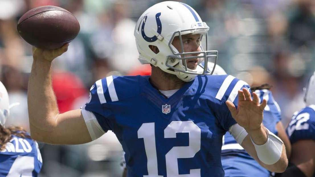 Andrew Luck of the Indianapolis Colts attempts a