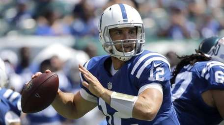 Indianapolis Colts quarterback Andrew Luck looks to pass