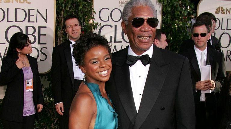 Actor Morgan Freeman and step-granddaughter Edena Hines arrive