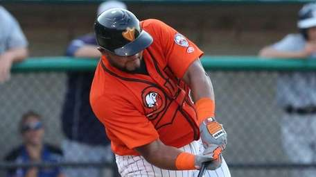 The Long Island Ducks' Nelfi Zapata hits an