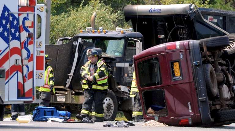 Emergency personnel at the scene of an accident