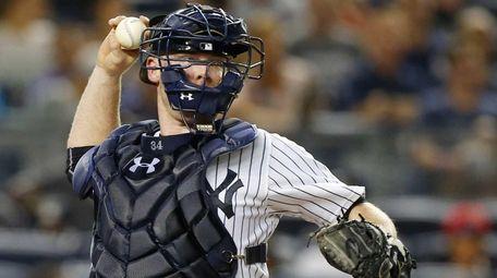 Brian McCann of the New York Yankees throws