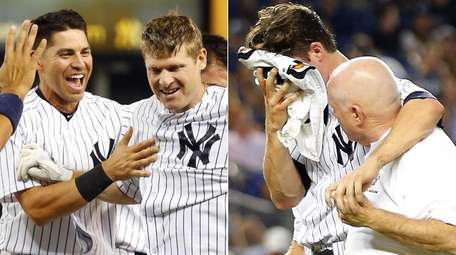 Left: Chase Headley #12 of the New York