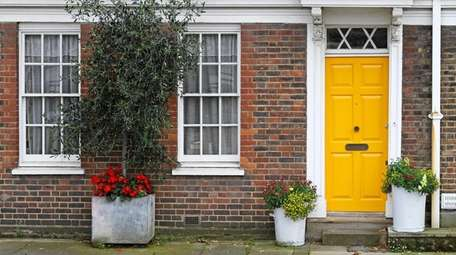 A bright yellow brightens up the exterior of